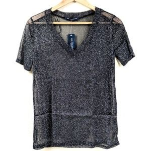 One Clothing Sheer Metallic Glitter Vneck Top